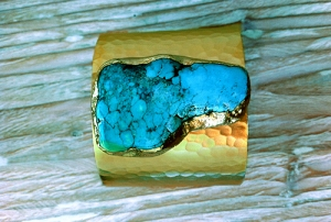 Turquoise Gemstone Gold Cuff