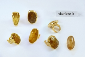 24K Gold Plated Citrine Ring