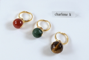 24K Gold Plated Gemstone Ball Ring