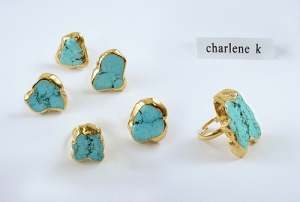 24K Gold Plated Turquoise with natural random crack pattern ring.