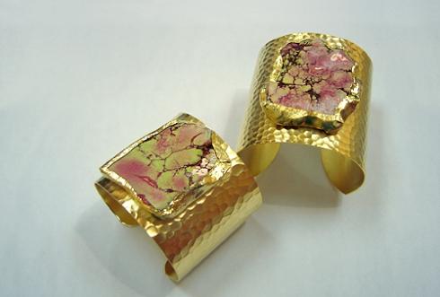 Pink Jasper Gold Cuff (CGJ-Pink)