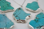 Blue Turquoise Pendant in Silver