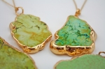 Green Turquoise Pendant in 24k Gold plated trim