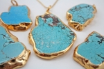 Blue Turquoise Pendant in 24k Gold plated trim
