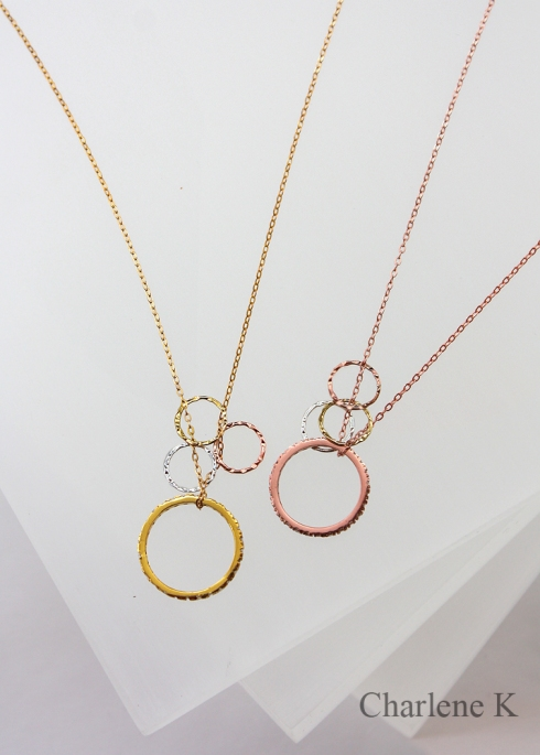 Stackable Ring with 3 Circles Pendant