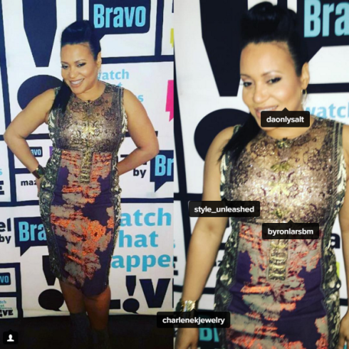 Cherye Salt James was seen BRAVO TV show wearing Charlene K