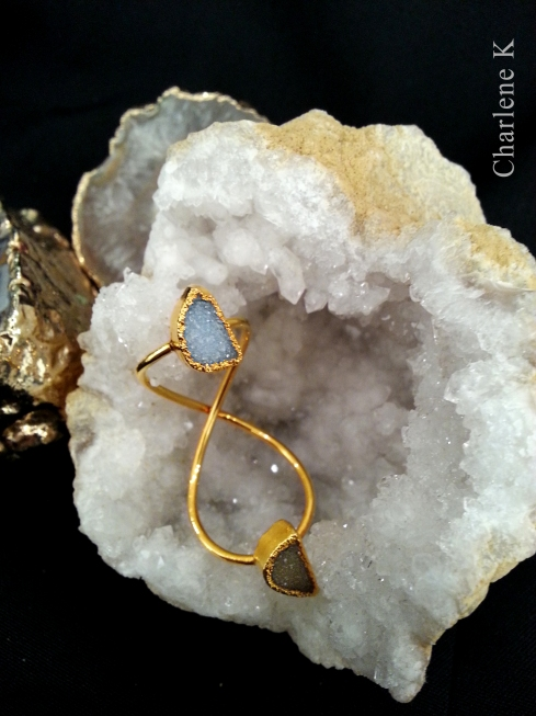 charlene k double druzy gold ring