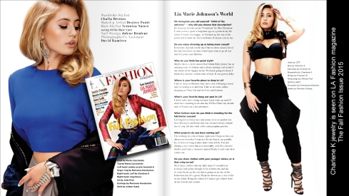 Charlene K jewelry was see o LA Fashion magazine