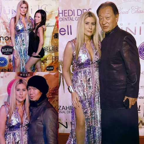 "UNICI CASA GOLD OSCAR PARTY. With Cary-Hiroyuki Tagawa, Kai Chandra, Monie Love Jewelry from ""Charlene K"" #charlenekay @charlenekay Dress by OTTdubia #ottdubia #fashionforwardla — with Monie Love, Kai Chandra and Cary-Hiroyuki"